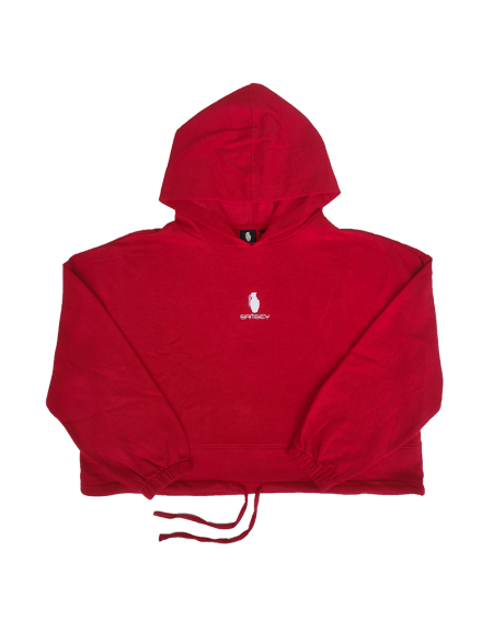Sweat à capuche Womens Oversize Fire Red/Blanc